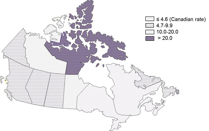 Figure 2: Tuberculosis incidence rate per 100,000 population by province/territory in Canada, 2015. Text equivalent follows.