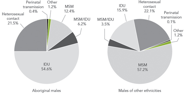 Figure 2a - Exposure category distribution of reported HIV  cases in Canada, comparing Aboriginal males (n = 1,539) with males of other  ethnicities (n = 6,245), 1998 to 2012