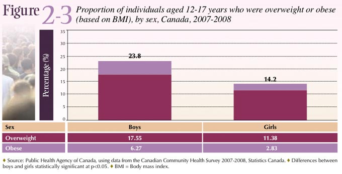 Figure2-3: Proportion of individuals aged 12-17 years who were overweight or obese (based on BMI), by sex, Canada, 2007-2008