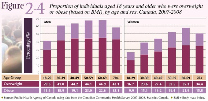 Figure 2-4: Proportion of individuals aged 18 years and older who were overweight or obese (based on BMI), by age and sex, Canada, 2007-2008