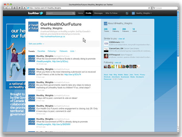 Our Health Our Future Twitter presence