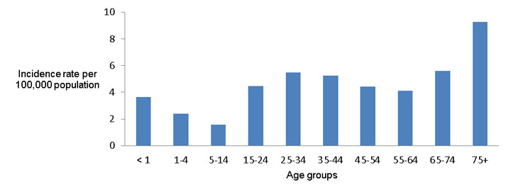 Figure 2: Tuberculosis incidence rate per 100,000 population, by age group, Canada, 2013